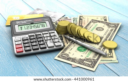 Finance concept. Calculator with coins and money of different value on a blue wood background. Concept of payment and savings. 3d illustration - stock photo