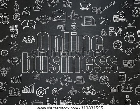 Finance concept: Chalk White text Online Business on School Board background with  Hand Drawn Business Icons - stock photo
