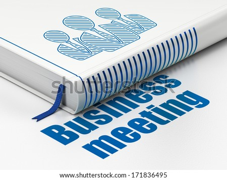 Finance concept: closed book with Blue Business People icon and text Business Meeting on floor, white background, 3d render