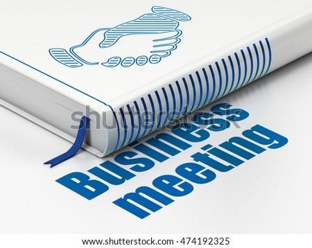 Finance concept: closed book with Blue Handshake icon and text Business Meeting on floor, white background, 3D rendering