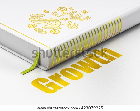 Finance concept: closed book with Gold Finance Symbol icon and text Growth on floor, white background, 3D rendering - stock photo