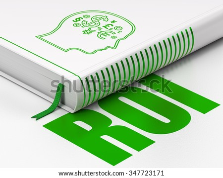 Finance concept: closed book with Green Head With Finance Symbol icon and text ROI on floor, white background, 3d render