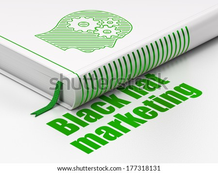 Finance concept: closed book with Green Head With Gears icon and text Black Hat Marketing on floor, white background, 3d render - stock photo
