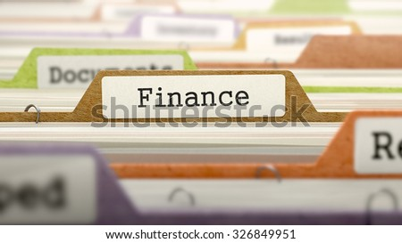 Finance Concept. Colored Document Folders Sorted for Catalog. Closeup View. Selective Focus. - stock photo