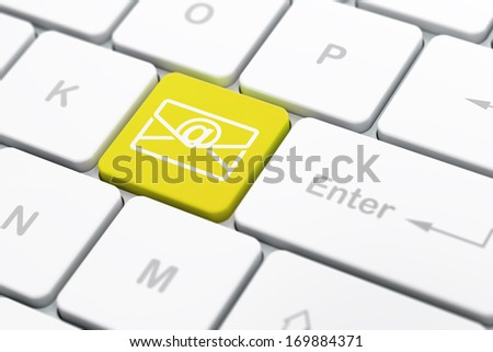 Finance concept: computer keyboard with Email icon on enter button background, selected focus, 3d render - stock photo
