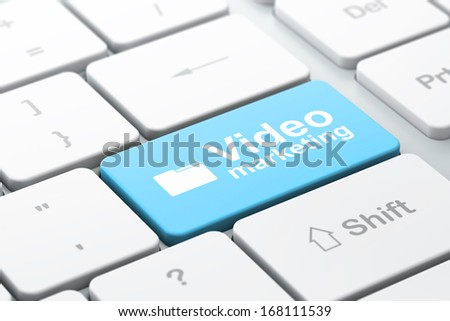 Finance concept: computer keyboard with Folder icon and word Video Marketing, selected focus on enter button, 3d render - stock photo