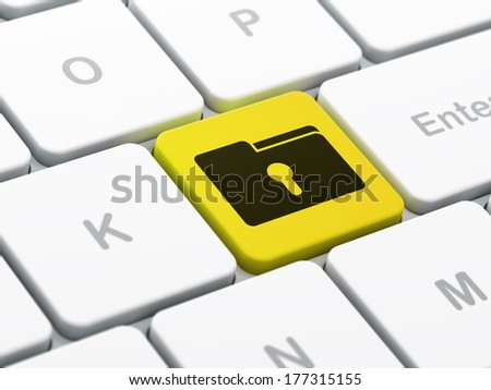 Finance concept: computer keyboard with Folder With Keyhole icon on enter button background, selected focus, 3d render