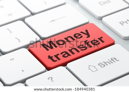 Finance concept: computer keyboard with word Money Transfer, selected focus on enter button background, 3d render - stock photo