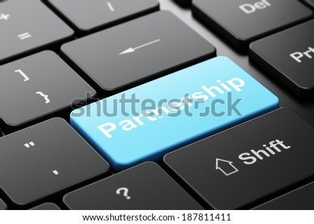 Finance concept: computer keyboard with word Partnership, selected focus on enter button background, 3d render - stock photo