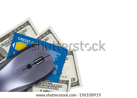 Finance concept, credit card and dollar banknotes under computer mouse with copy space for your design, isolated on white background. - stock photo