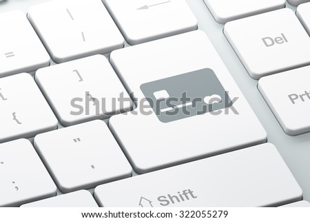 Finance concept: Enter button with Credit Card on computer keyboard background, 3d render