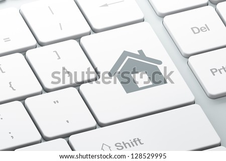Finance concept: Enter button with Home on computer keyboard, 3d render - stock photo