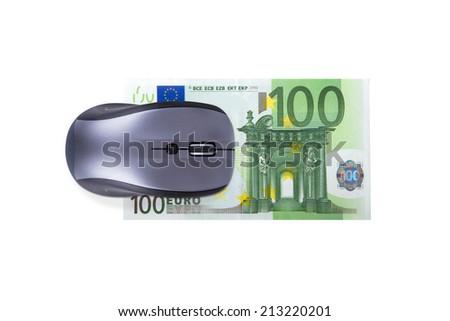 Finance concept, euro banknote under computer mouse, isolated on white background. - stock photo