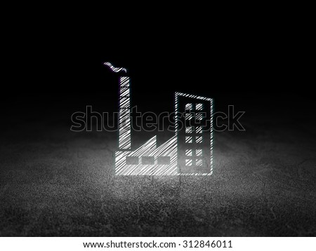 Finance concept: Glowing Industry Building icon in grunge dark room with Dirty Floor, black background - stock photo