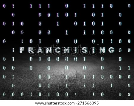 Finance concept: Glowing text Franchising in grunge dark room with Dirty Floor, black background with Binary Code, 3d render - stock photo