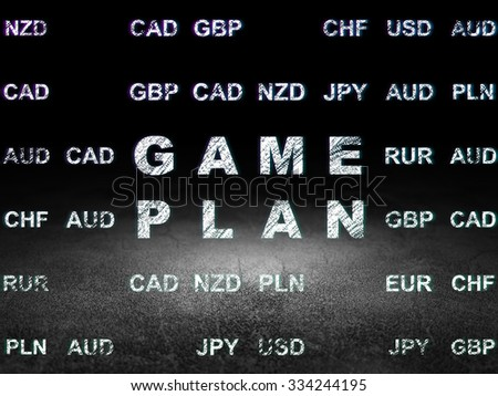 Finance concept: Glowing text Game Plan in grunge dark room with Dirty Floor, black background with Currency
