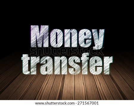 Finance concept: Glowing text Money Transfer in grunge dark room with Wooden Floor, black background, 3d render