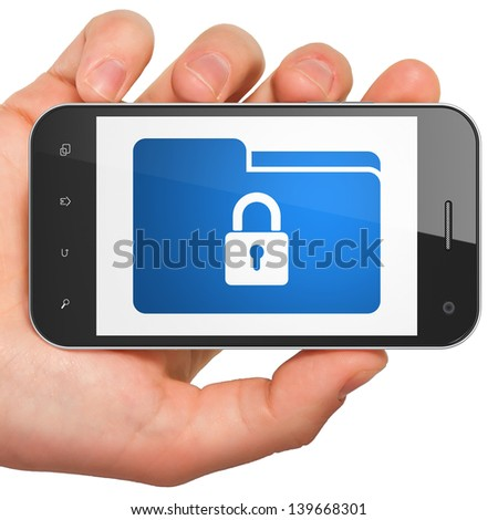 Finance concept: hand holding smartphone with Folder on display. Generic mobile smart phone in hand on White background.