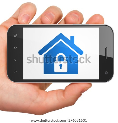 Finance concept: hand holding smartphone with Home on display. Mobile smart phone on White background, 3d render - stock photo
