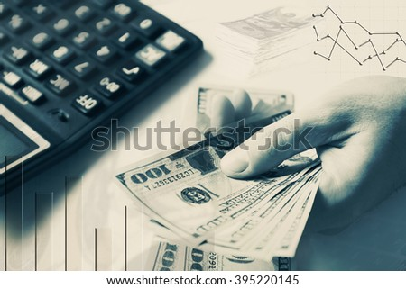 Finance concept. Hands counting money, close up - stock photo