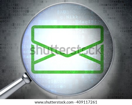 Finance concept: magnifying optical glass with Email icon on digital background, 3D rendering - stock photo