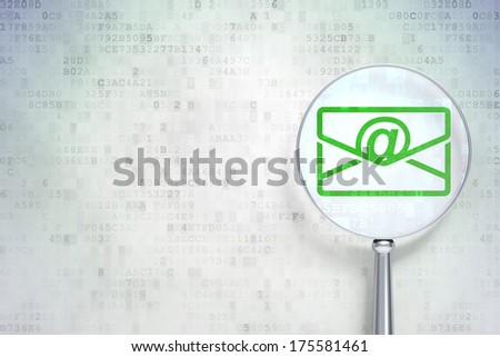 Finance concept: magnifying optical glass with Email icon on digital background, empty copyspace for card, text, advertising, 3d render - stock photo