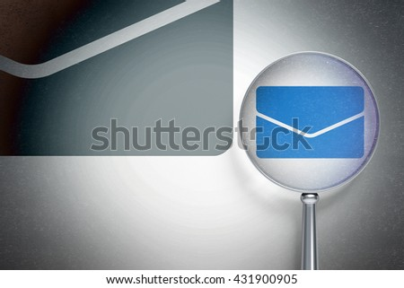 Finance concept: magnifying optical glass with Email icon on digital background, empty copyspace for card, text, advertising, 3D rendering - stock photo