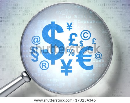 Finance concept: magnifying optical glass with Finance Symbol icon on digital background, 3d render - stock photo