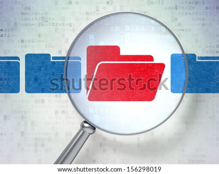 Finance concept: magnifying optical glass with Folder icons on digital background, 3d render - stock photo