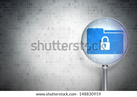 Finance concept: magnifying optical glass with Folder With Lock icon on digital background, empty copyspace for card, text, advertising, 3d render - stock photo