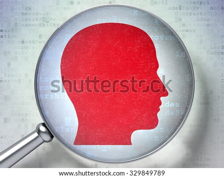 Finance concept: magnifying optical glass with Head icon on digital background