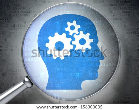 Finance concept: magnifying optical glass with Head With Gears icon on digital background, 3d render - stock photo