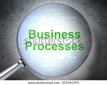 Finance concept: magnifying optical glass with words Business Processes on digital background - stock photo