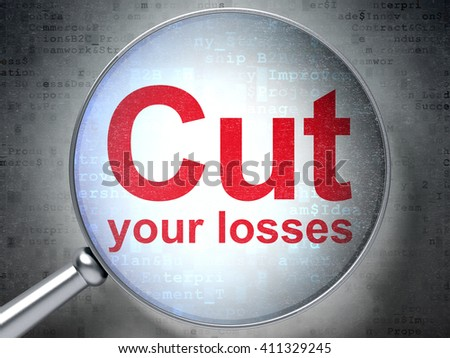 Finance concept: magnifying optical glass with words Cut Your losses on digital background, 3D rendering - stock photo