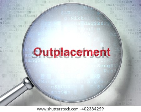 Finance concept: magnifying optical glass with words Outplacement on digital background, 3D rendering - stock photo