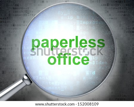 Finance concept: magnifying optical glass with words Paperless Office on digital background, 3d render - stock photo