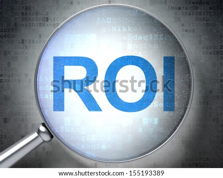 Finance concept: magnifying optical glass with words ROI on digital background, 3d render - stock photo