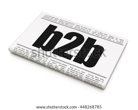 Finance concept: newspaper headline B2b on White background, 3D rendering - stock photo