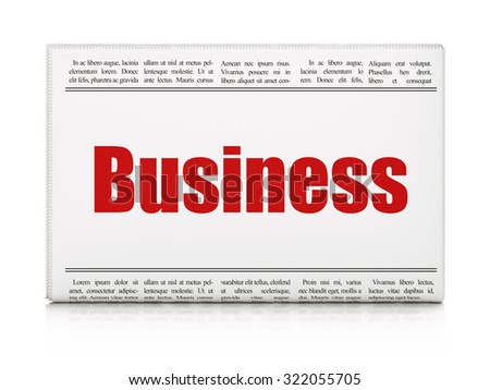 Finance concept: newspaper headline Business on White background, 3d render - stock photo