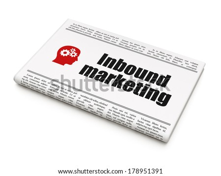 Finance concept: newspaper headline Inbound Marketing and Head With Gears icon on White background, 3d render - stock photo