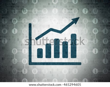 Finance concept: Painted blue Growth Graph icon on Digital Data Paper background with Scheme Of Binary Code