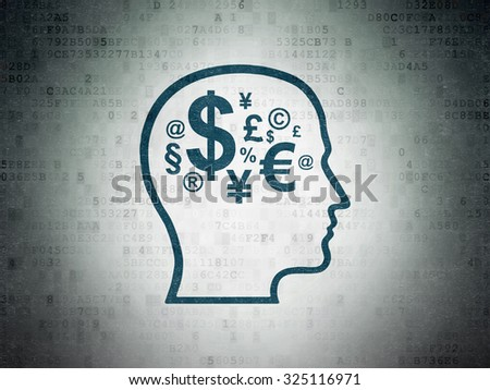 Finance concept: Painted blue Head With Finance Symbol icon on Digital Paper background