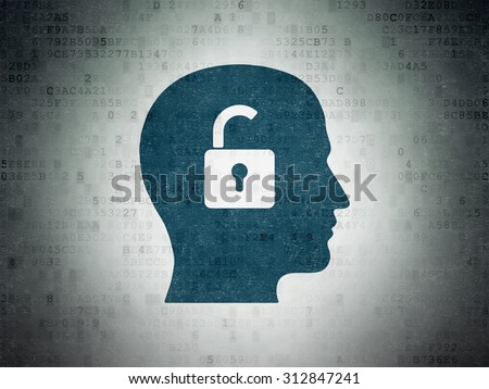 Finance concept: Painted blue Head With Padlock icon on Digital Paper background