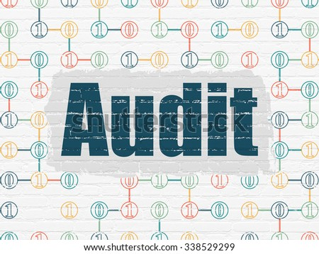 Finance concept: Painted blue text Audit on White Brick wall background with Scheme Of Binary Code - stock photo