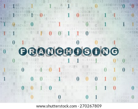 Finance concept: Painted blue text Franchising on Digital Paper background with Binary Code, 3d render - stock photo