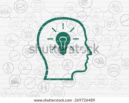 Finance concept: Painted green Head With Lightbulb icon on White Brick wall background with Scheme Of Hand Drawn Business Icons, 3d render - stock photo
