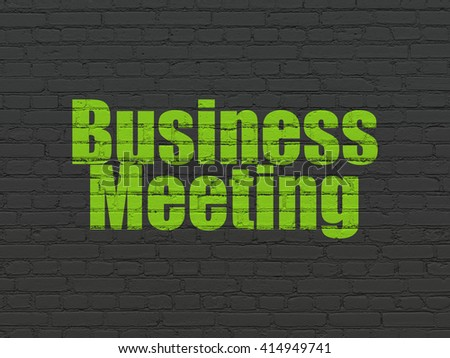 Finance concept: Painted green text Business Meeting on Black Brick wall background - stock photo