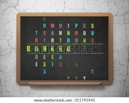 Finance concept: Painted green word Bankruptcy in solving Crossword Puzzle on School Board background - stock photo