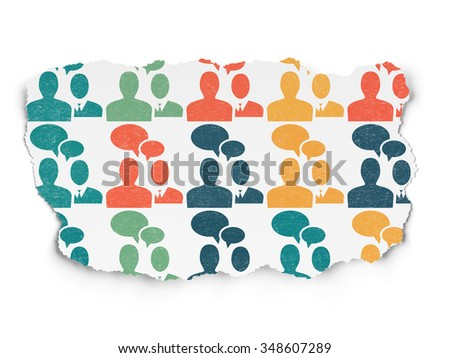 Finance concept: Painted multicolor Business Meeting icons on Torn Paper background