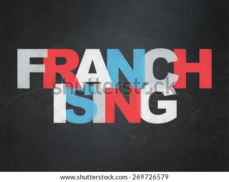 Finance concept: Painted multicolor text Franchising on School Board background with  , 3d render - stock photo